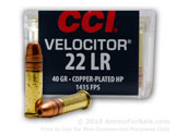50 Rounds of 40gr CPHP .22 LR Ammo by CCI image}}