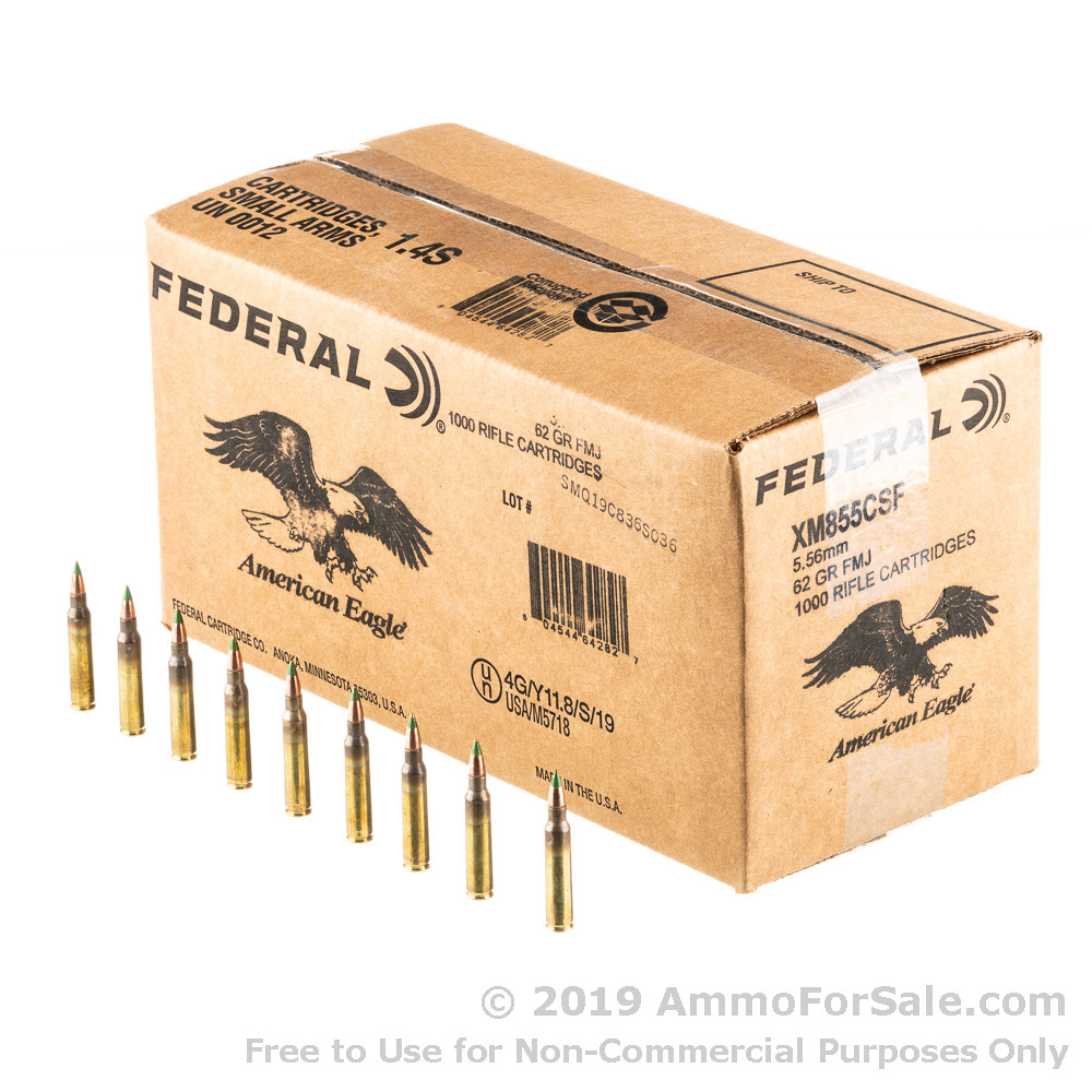 1000 Rounds of 62gr FMJ 5 56x45 Ammo by Lake City
