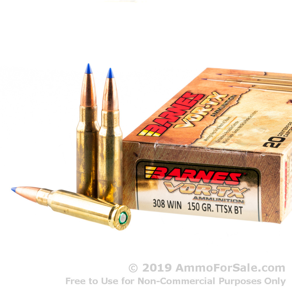 20 Rounds of 150gr TTSX  308 Win Ammo by Barnes