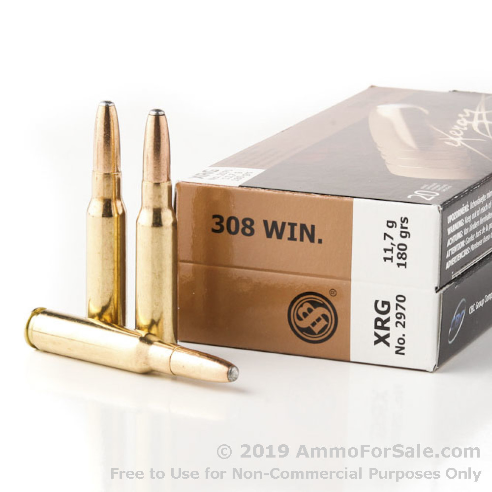 20 Rounds of 180gr XRG  308 Win Ammo by Sellier & Bellot