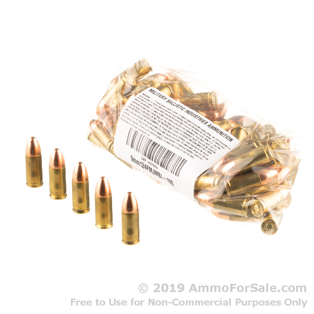1000 Rounds of 124gr FMJ 9mm Ammo by M B I