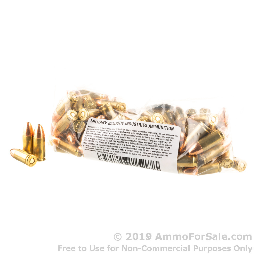 100 Rounds of 124gr FMJ 9mm Ammo by M B I