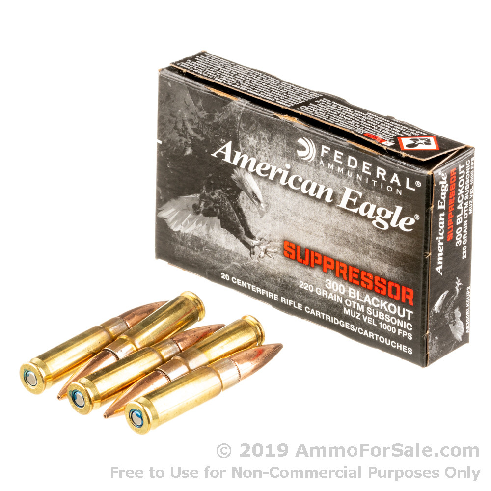 500 Rounds of 220gr OTM Subsonic  300 AAC Blackout Ammo by Federal American  Eagle