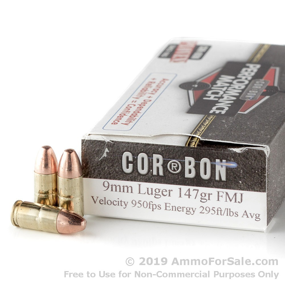 50 Rounds of 147gr FMJ 9mm Ammo by Corbon