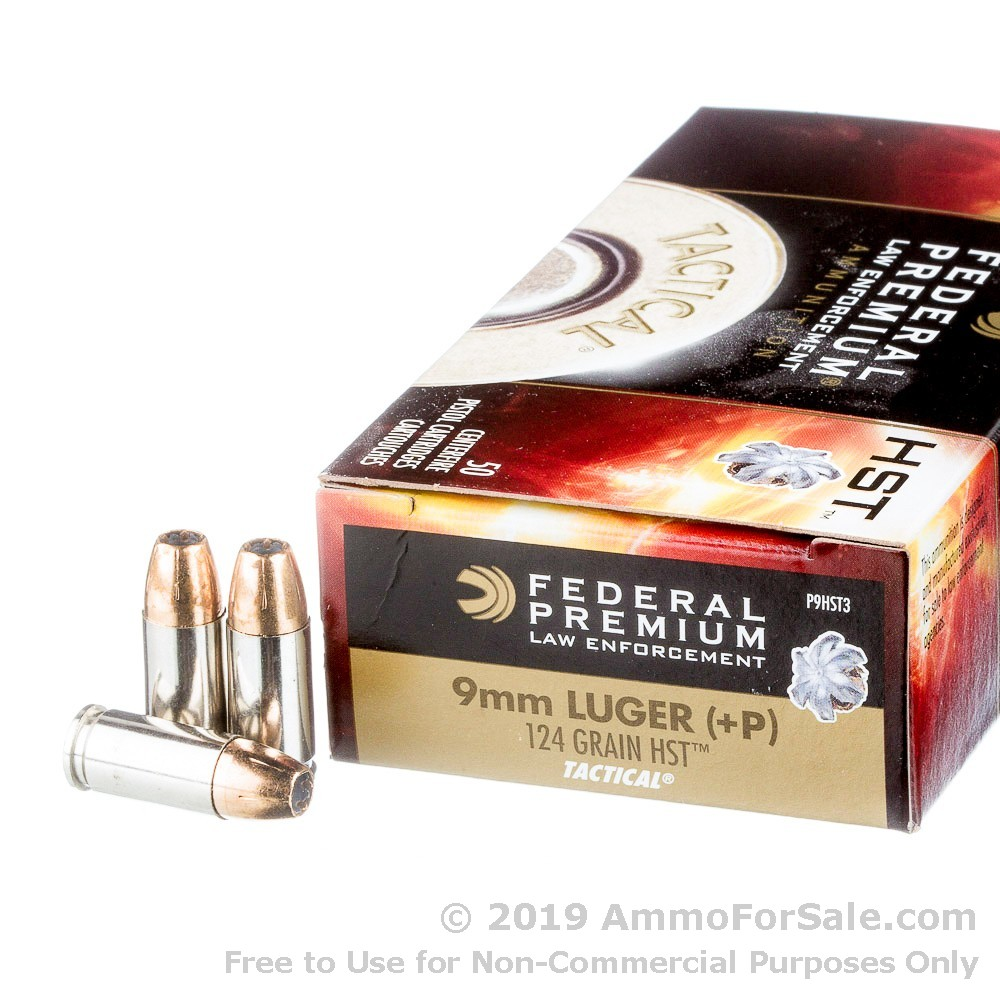 1000 Rounds of 124gr JHP 9mm + P Ammo by Federal LE Tactical HST