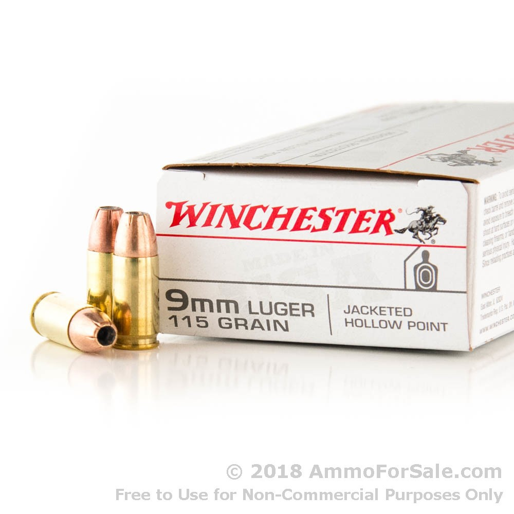 500 rounds of discount 115gr jhp 9mm ammo for sale by winchester