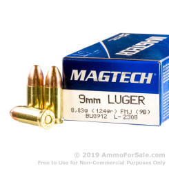 1000 Rounds of 124gr FMC 9mm Ammo by Magtech