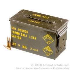 540 Rounds of 146gr FMJ 7.62x51mm Ammo in M2A1 Can by Malaysian Military Surplus