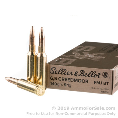 500 Rounds of 140gr FMJBT 6.5 Creedmoor Ammo by Sellier & Bellot
