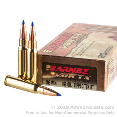 20 Rounds of 168gr TTSX .308 Win Ammo by Barnes