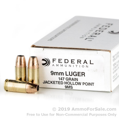 1000 Rounds of 147gr JHP 9mm Ammo by Federal