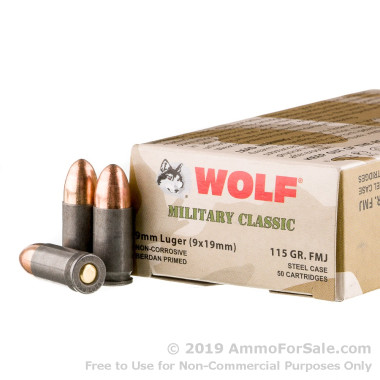 50 Rounds of 115gr FMJ 9mm Ammo by Wolf WPA Military Classic