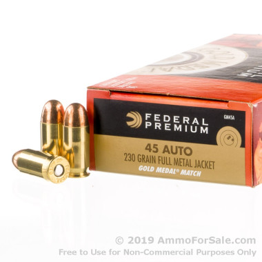 50 Rounds of 230gr FMJ .45 ACP Ammo by Federal Gold Medal Match