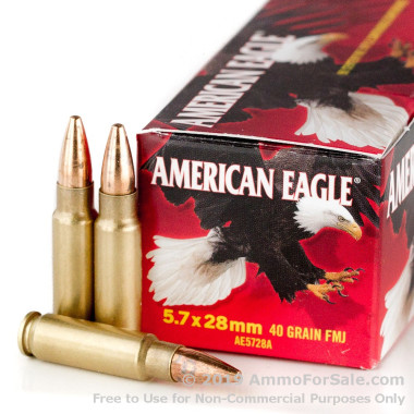 50 Rounds of 40gr TMJ 5.7x28 mm Ammo by Federal American Eagle
