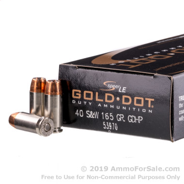 50 Rounds of 165gr JHP .40 S&W Ammo by Speer