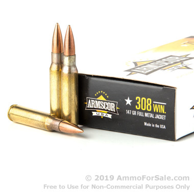 200 Rounds of 147gr FMJ .308 Win Ammo by Armscor