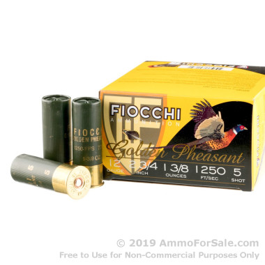 25 Rounds of 1 3/8 ounce #5 nickel plated lead shot 12ga Ammo by Fiocchi