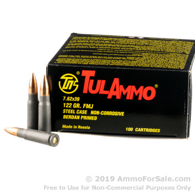 100 Rounds of 122gr FMJ 7.62x39mm Ammo by Tula