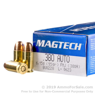 50 Rounds of 95gr FMC .380 ACP Ammo by Magtech