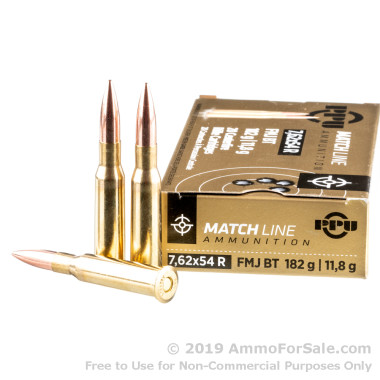 20 Rounds of 182gr FMJBT 7.62x54r Ammo by Prvi Partizan