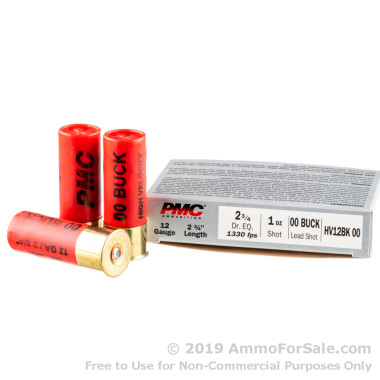5 Rounds of  00 Buck 12ga Ammo by PMC