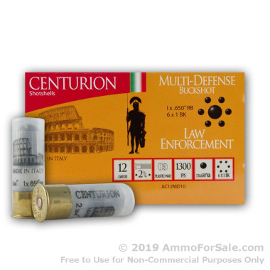 """10 Rounds of .65"""" Lead Ball on top of #1 Buck 12ga Ammo by Centurion"""