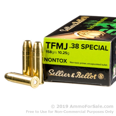 50 Rounds of 158gr TMJ .38 Spl Ammo by Sellier & Bellot