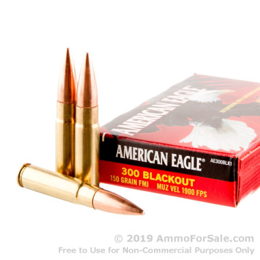 500 Rounds of 150gr FMJ .300 AAC Blackout Ammo by Federal American Eagle