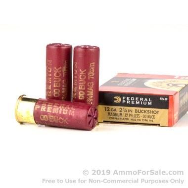 5 Rounds of  00 Buck 12ga Ammo by Federal Vital-Shok
