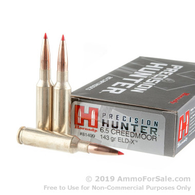20 Rounds of 143gr ELD-X 6.5mm Creedmoor Ammo by Hornady