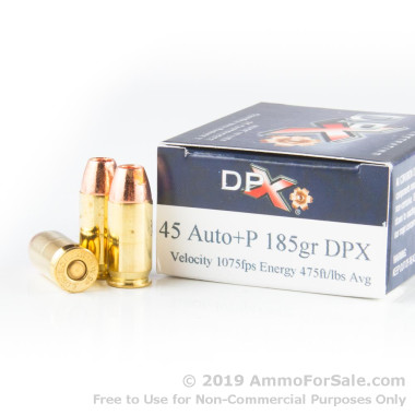 20 Rounds of 185gr SCHP .45 ACP +P Ammo by Corbon DPX