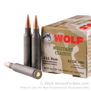20 Rounds of 62gr FMJ .223 Ammo by Wolf