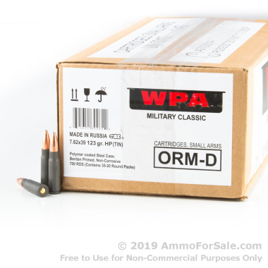 700 Rounds of 123gr Hollow Point 7.62x39mm Ammo by Wolf Military Classic in a Spam Can