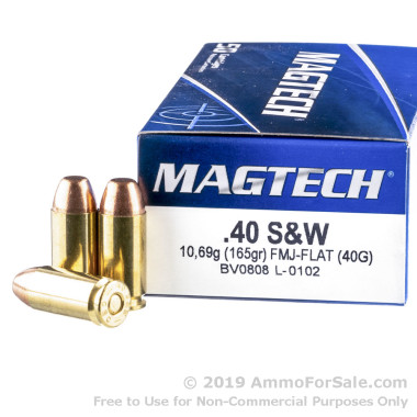 50 Rounds of 165gr FMC .40 S&W Ammo by Magtech