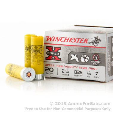 """25 Rounds of 2-3/4"""" 3/4 ounce #7 Shot (Steel) 20ga Ammo by Winchester Super-X"""