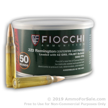 50 Rounds of 62gr FMJBT .223 Ammo by Fiocchi Canned Heat