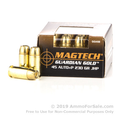 20 Rounds of 230gr JHP .45 ACP Ammo by Magtech