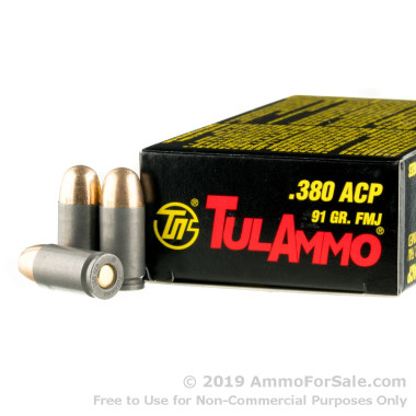 50 Rounds of 91gr FMJ .380 ACP Ammo by Tula