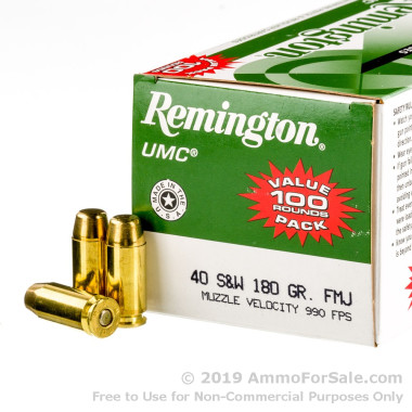 600 Rounds of 180gr MC .40 S&W Ammo by Remington