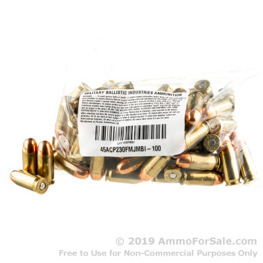 50 Rounds of 230gr FMJ .45 ACP Ammo by M.B.I.