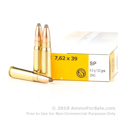20 Rounds of 123gr SP 7.62x39mm Ammo by Sellier & Bellot
