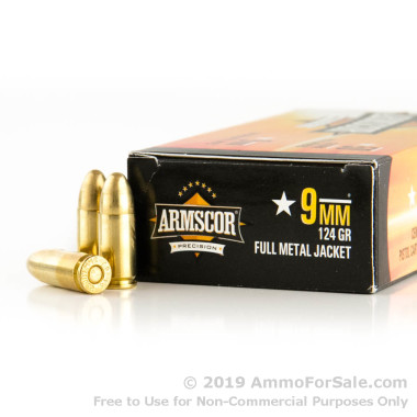 1000 Rounds of 124gr FMJ 9mm Ammo by Armscor
