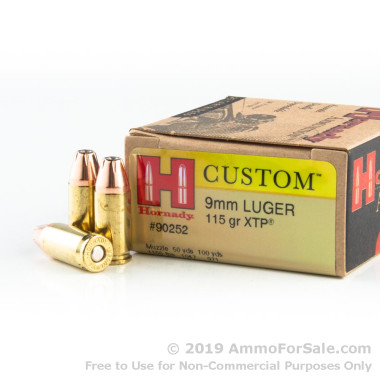 25 Rounds of 115gr JHP 9mm Ammo by Hornady