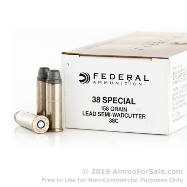 50 Rounds of 158gr LSWC .38 Spl Ammo by Federal