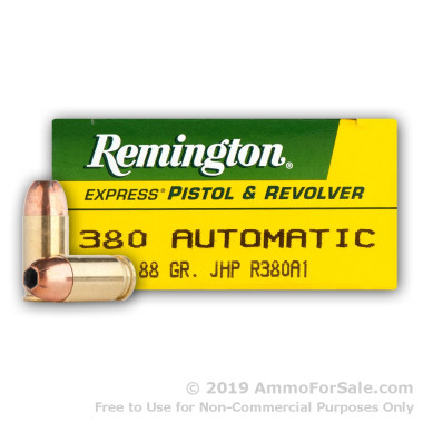 50 Rounds of 88gr JHP .380 ACP Ammo by Remington