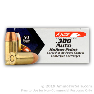 50 Rounds of 90gr JHP .380 ACP Ammo by Aguila