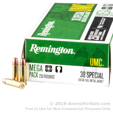 250 Rounds of 130gr MC .38 Spl Ammo by Remington