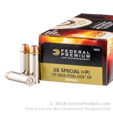 50 Rounds of 129gr JHP .38 Spl Ammo by Federal