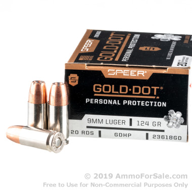 20 Rounds of 124gr +P JHP 9mm Ammo by Speer Gold Dot