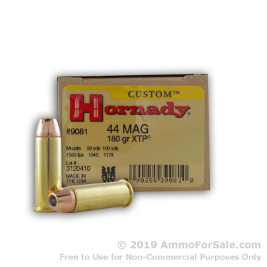 20 Rounds of 180gr JHP .44 Mag Ammo by Hornady